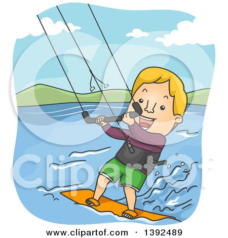 Clipart of a Cartoon Blond White Man Kite Surfing - Royalty Free Vector Illustration by BNP Design Studio