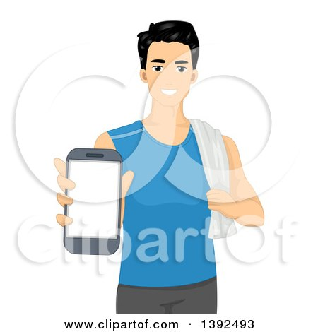 Clipart of a Happy Man in Fitness Clothing, Holding out a Smart Phone - Royalty Free Vector Illustration by BNP Design Studio
