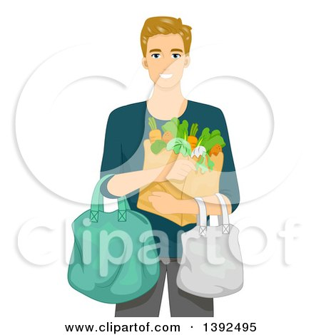 Clipart of a Blond White Man Carrying Groceries - Royalty Free Vector Illustration by BNP Design Studio