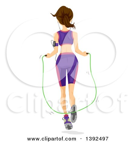 Clipart of a Rear View of a Brunette White Woman Using a Jump Rope - Royalty Free Vector Illustration by BNP Design Studio