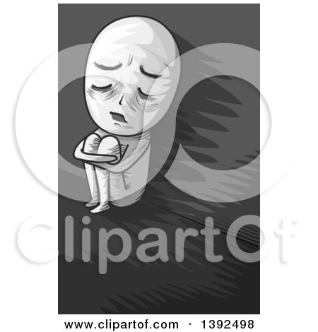 Clipart of a Grayscale Man Curled up in a Corner - Royalty Free Vector Illustration by BNP Design Studio