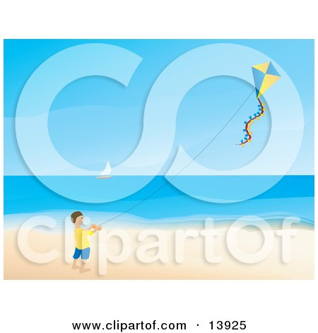 Happy Little Boy Flying a Kite on a Beach Clipart Illustration by Rasmussen Images