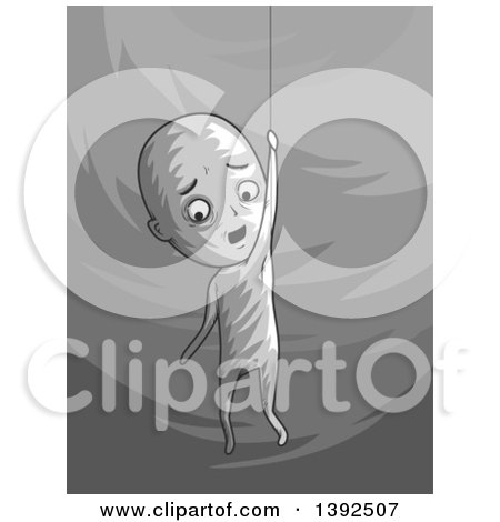 Clipart of a Grayscale Man Hanging by a Thread - Royalty Free Vector Illustration by BNP Design Studio