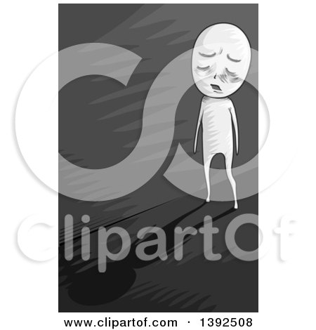 Clipart of a Grayscale Man Walking down a Dark Alley of Depression - Royalty Free Vector Illustration by BNP Design Studio