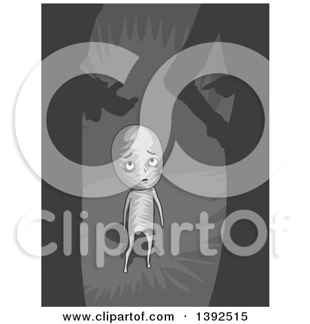 Clipart of a Man Feeling Small and Insecure by Others - Royalty Free Vector Illustration by BNP Design Studio