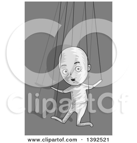 Clipart of a Puppet Man Controlled by Strings - Royalty Free Vector Illustration by BNP Design Studio