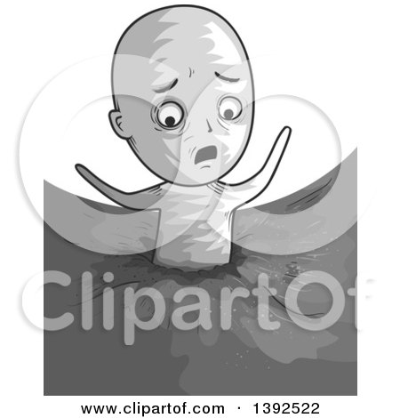 Clipart of a Man Stuck in Quick Sand - Royalty Free Vector Illustration by BNP Design Studio
