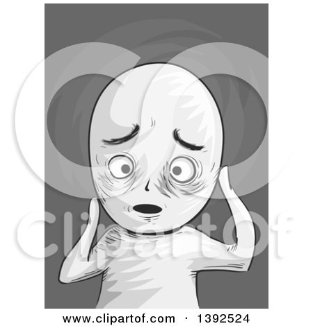 Clipart of a Grayscale Troubled Man - Royalty Free Vector Illustration by BNP Design Studio