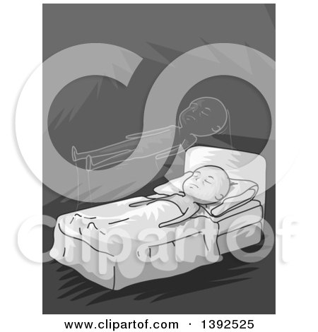 Clipart of a Grayscale Man Experiencing Astral Projection - Royalty Free Vector Illustration by BNP Design Studio