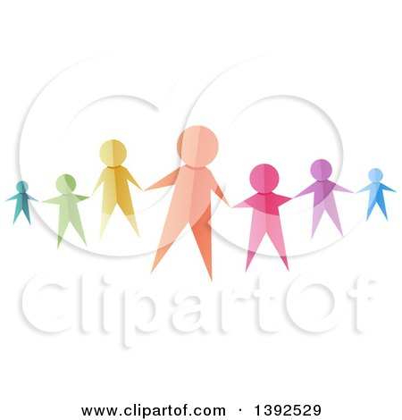 Clipart of Colorful Paper People Reaching out to Hold Hands - Royalty Free Vector Illustration by BNP Design Studio