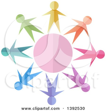 Clipart of Colorful Paper People Holding Hands Around a Circle - Royalty Free Vector Illustration by BNP Design Studio