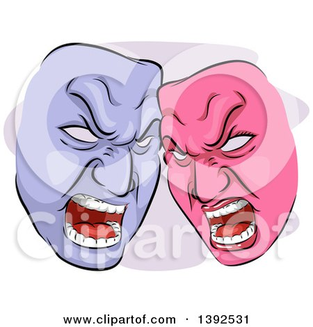 Clipart of Pink and Purple Angry Codependent Theater Masks - Royalty Free Vector Illustration by BNP Design Studio