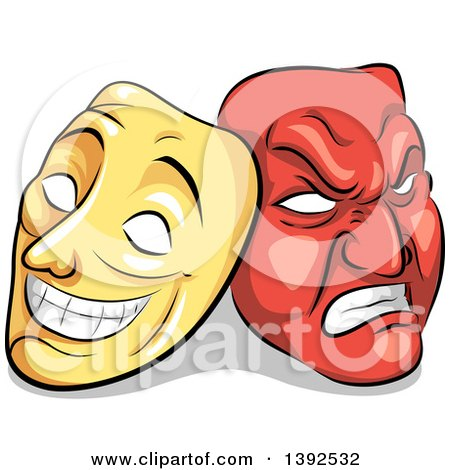 Clipart of Yellow and Red Biopolar Theater Masks - Royalty Free Vector Illustration by BNP Design Studio