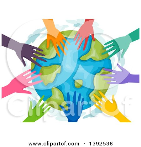Clipart of a Circle of Colorful Volunteer Hands Around Earth - Royalty Free Vector Illustration by BNP Design Studio