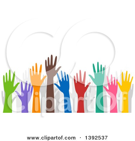 Clipart of Colorful Volunteer Hands Raised - Royalty Free Vector Illustration by BNP Design Studio