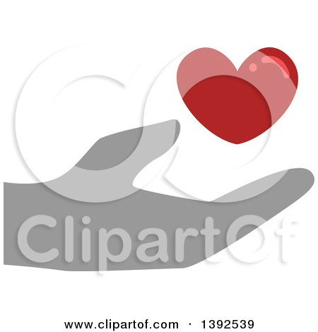 Clipart of a Flat Design Hand Supporting a Blood Heart - Royalty Free Vector Illustration by BNP Design Studio