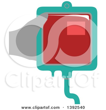 Clipart of a Flat Design Hand Holding a Blood Bag - Royalty Free Vector Illustration by BNP Design Studio