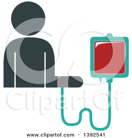 Clipart of a Flat Design Person Connected to a Blood Bag, Receiving a Transfusion - Royalty Free Vector Illustration by BNP Design Studio