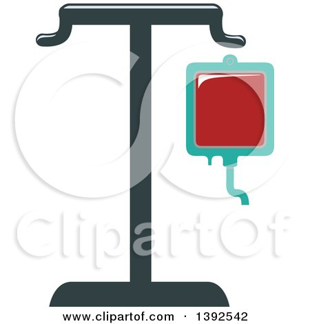 Clipart of a Flat Design Blood Bag on a Stand - Royalty Free Vector Illustration by BNP Design Studio