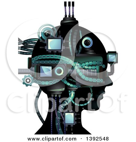 Clipart of a Cybernetic Head - Royalty Free Vector Illustration by BNP Design Studio