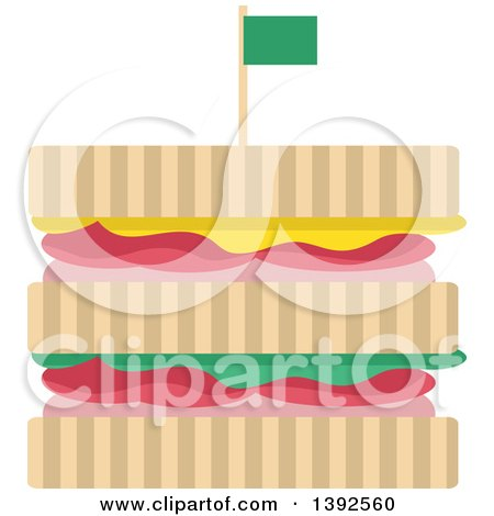 Clipart of a Flat Design Sandwich - Royalty Free Vector Illustration by BNP Design Studio