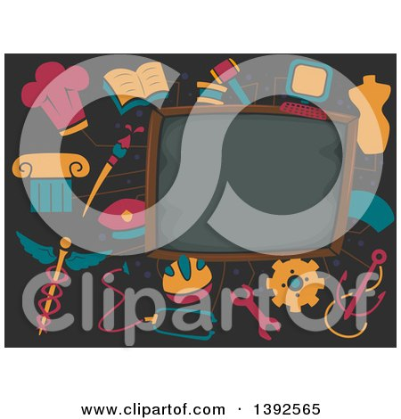 Clipart of a Blackboard with School Icons - Royalty Free Vector Illustration by BNP Design Studio