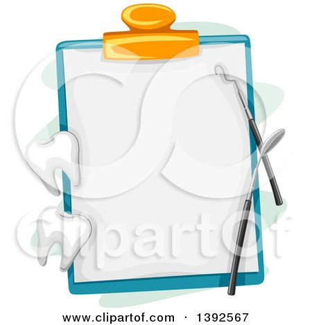 Clipart of a Dental Chart on a Clipboard with Tools and Teeth - Royalty Free Vector Illustration by BNP Design Studio