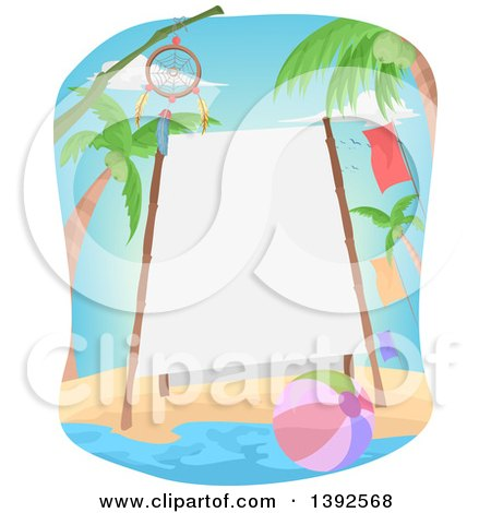 Clipart of a Bamboo Framed Sign on a Beach with a Dream Catcher and Ball - Royalty Free Vector Illustration by BNP Design Studio