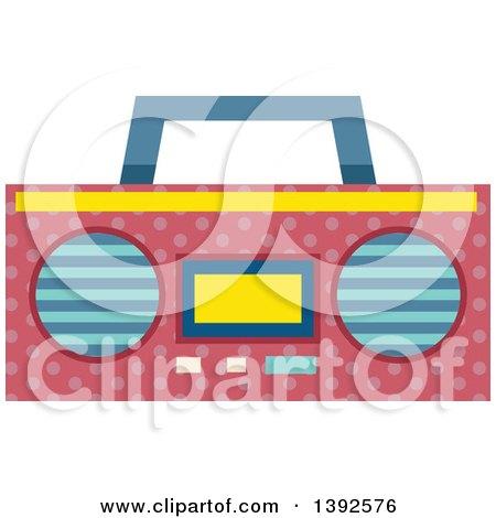 Clipart of a Flat Design Boom Box Radio - Royalty Free Vector Illustration by BNP Design Studio