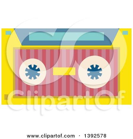 Clipart of a Flat Design Cassette Tape - Royalty Free Vector Illustration by BNP Design Studio