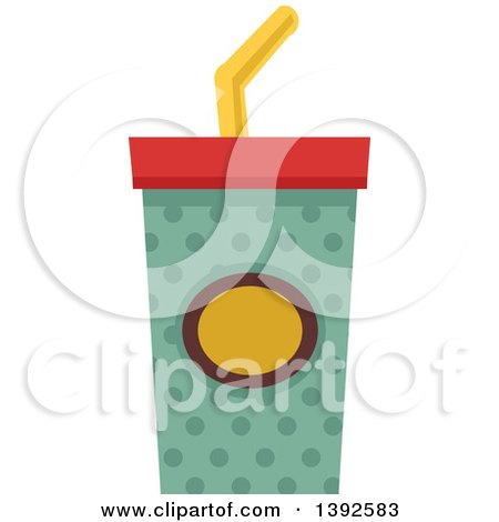 Clipart of a Flat Design Fountain Soda - Royalty Free Vector Illustration by BNP Design Studio