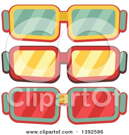 Flat Design Movie Glasses Posters, Art Prints