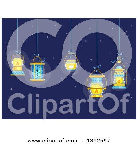Clipart of Lit Lanterns Hanging Ove Ra Night Sky - Royalty Free Vector Illustration by BNP Design Studio