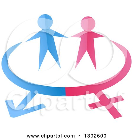 Clipart of Pink and Blue Paper People over Gender Symbols - Royalty Free Vector Illustration by BNP Design Studio