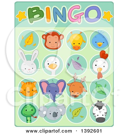 Clipart of a Cute Animal Bingo Game Card - Royalty Free Vector Illustration by BNP Design Studio
