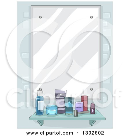 Clipart of a Mirror with a Shelf of Men's Grooming Products - Royalty Free Vector Illustration by BNP Design Studio