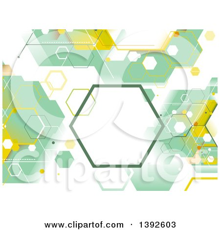 Clipart of a Green and Yellow Abstract Geometric Hexagon Background - Royalty Free Vector Illustration by BNP Design Studio