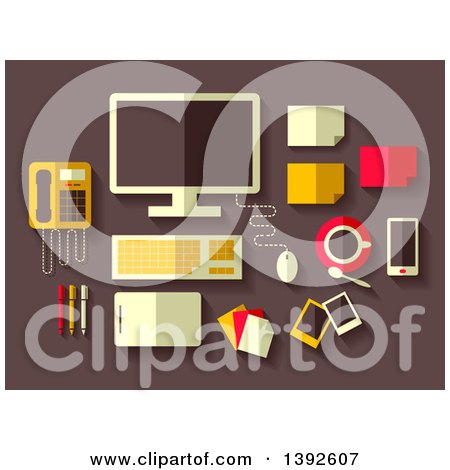 Clipart of Flat Design Office Accessories - Royalty Free Vector Illustration by BNP Design Studio