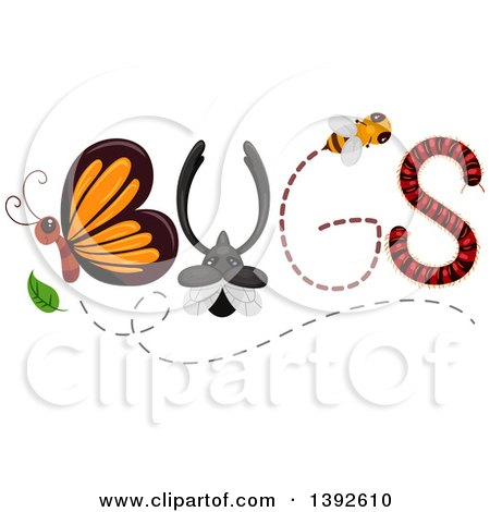 Clipart of Insects Forming the Word BUGS - Royalty Free Vector Illustration by BNP Design Studio