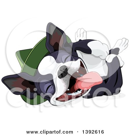 Clipart of a Cute Boston Terrier or French Bulldog Wearing a Hat and Laying on His Back - Royalty Free Vector Illustration by Pushkin
