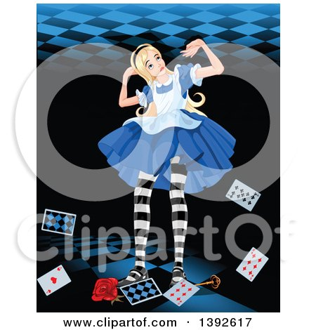 Clipart of a Giant Alice in Wonderland, Pushing up Against a Ceiling, with Cards, a Key and Rose at Her Feet - Royalty Free Vector Illustration by Pushkin