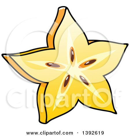 Clipart of a Cartoon Carambola Starfruit - Royalty Free Vector Illustration by Vector Tradition SM