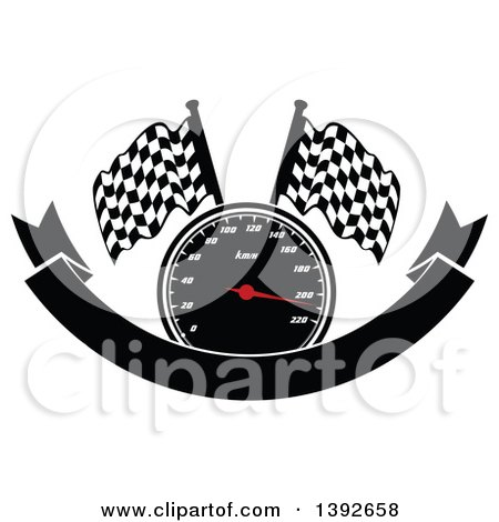 Clipart of a Motorsports Design of a Speedometer and Checkered Racing Flags over a Blank Banner - Royalty Free Vector Illustration by Vector Tradition SM