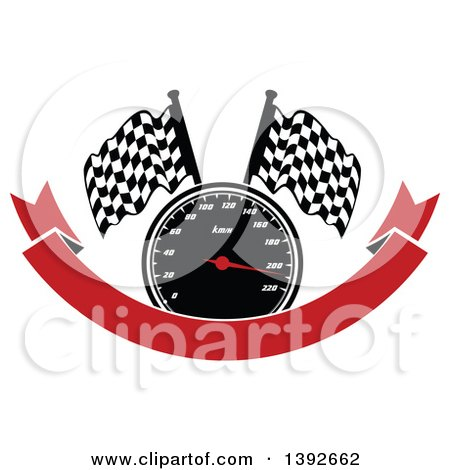 Clipart of a Motorsports Design of a Speedometer and Checkered Racing Flags over a Red Banner - Royalty Free Vector Illustration by Vector Tradition SM