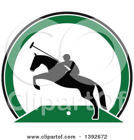 Clipart of a Silhouetted Horseback Man on a Leaping Polo Horse - Royalty Free Vector Illustration by Vector Tradition SM