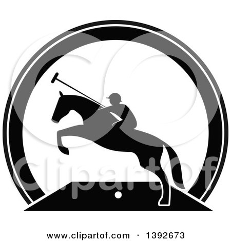 Clipart of a Silhouetted Black and White Horseback Man on a Leaping Polo Horse - Royalty Free Vector Illustration by Vector Tradition SM