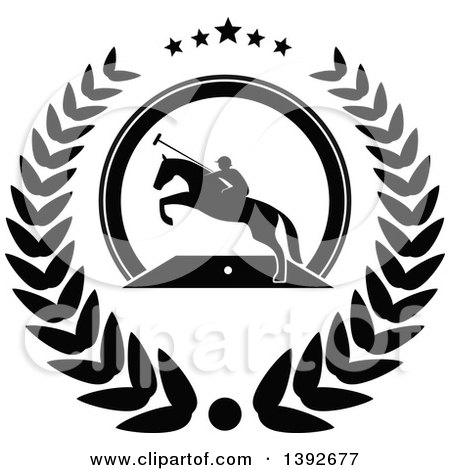 Clipart of a Black and White Silhouetted Horseback Man on a Leaping Polo Horse in a Wreath - Royalty Free Vector Illustration by Vector Tradition SM