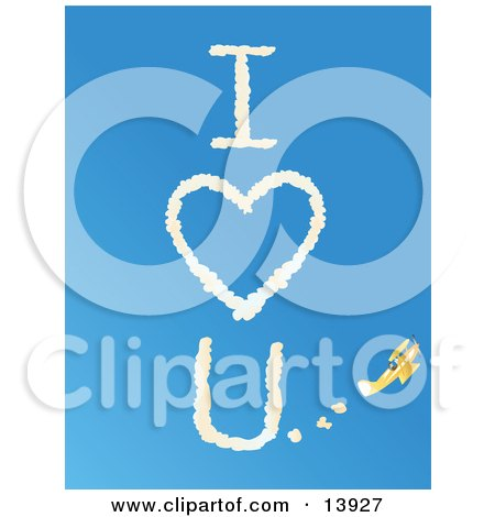 """Yellow Biplane Leaving A Message Reading """"I Love You"""" In A Vapor Trail Against A Clear Blue Sky Posters, Art Prints"""