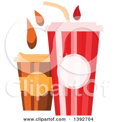 Clipart of a Fountain Soda and to Go Coffee with Droplets - Royalty Free Vector Illustration by Vector Tradition SM