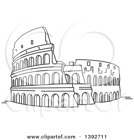 Clipart of a Gray Sketched Travel Landmark of the Roman Coliseum - Royalty Free Vector Illustration by Vector Tradition SM